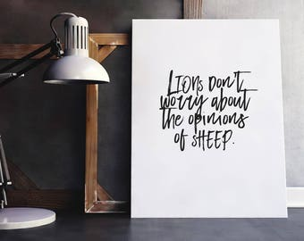 Lion Quote | Lions and Sheep, Encouragement Gift, Confidence Quotes, Confident Quotes, Opinion Quote, Printable Poster, Inspiring Saying