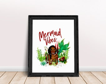 Mermaid Vibes | Mermaid Gang, Mermaids Only Quote, Be a Mermaid Quote, Mermaid Print, Mermaid Gifts, Mermaid Printable, Aquatic Wall Art
