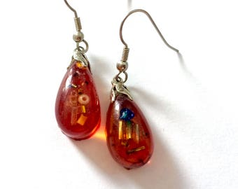 Resin-Cast Amber Colored Earrings