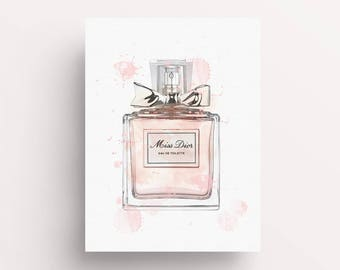 Miss Dior print, Miss Dior Perfume Bottle, Pink Print, Pink Dior, Dior Love, High Fashion Print, Watercolour Print, Watercolor Perfume