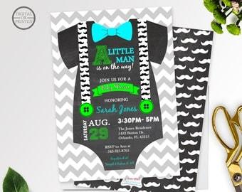 Little Man Baby Shower Invitation   Onesie Baby Shower Invitations   Bow  Tie Invitation   Mustache