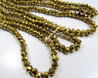 Top Quality Golden Pyrite Color Beads , Rondelle Faceted Gold Coated Beads 6mm , Hydro Quartz Beads , 100 Beads approx per Strand.