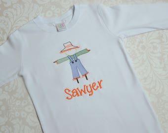 Scarecrow Shirt, Boys Fall Shirt, Sibling Fall Shirts, Personalized, Monogram Fall, Monogram Scarecrow,Thanksgiving Shirt, Boys Shirt name