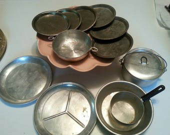 Vintage aluminum camping cookware