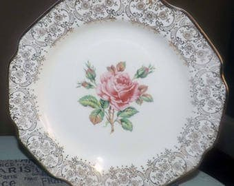 Mid-century (c.1950s) Dominion China Briar Rose dinner plate. Pink roses in center, 22-k gold floral chintz verge and edge.