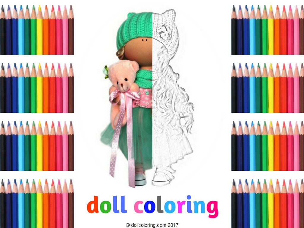Childrens coloring sheet of a rag doll -  Zoom