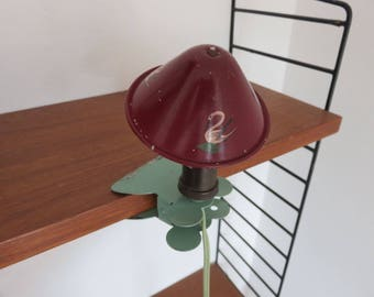 lovely mushroom making aluminum clamp lamp French mid century 1950 1960 '50s 60's french vintage mushroom lamp