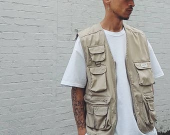 Multi-Pocket Utility Vest Sand