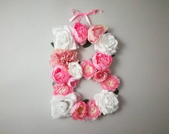 Large Flower Letter /  floral wall letter / boho chic nursery/ Flower Initial / Boho Floral Letter / Custom Floral Letter Nursery