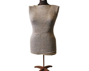 Vintage DRESS FORM w Adjustable Metal Stand holder industrial mannequin female lady woman retail clothing display
