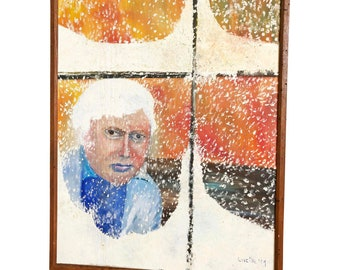 Vintage OIL PAINTING Woman Snowy Window naive art folk signed impressionist 60s listed artist Lucille Cohn New York brown framed winter lady