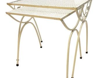 Mid Century Modern NESTING TABLE SET vintage plant stand stacking white side 50s 60s mod retro wrought iron living room woodard salterini 2