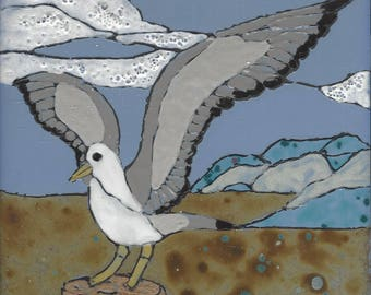 Sea Gull 207 Hand Painted Kiln Fired Decorative Ceramic Wall Art Tile 6 x 6
