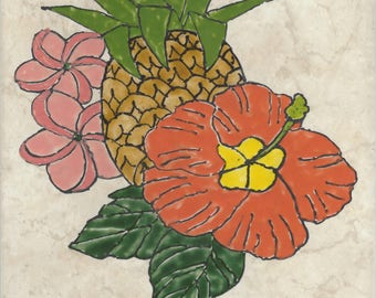 Pineapple Welcome #010 Hand Painted Kiln Fired Decorative Ceramic Wall Art Tile 8  x 12