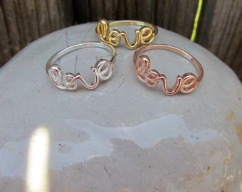 Love Script Ring, Wire Ring, Cursive Word Ring,  Gold, Rose Gold, or Silver, Girlfriend Gift, Gift For her, Valentine's Day gift