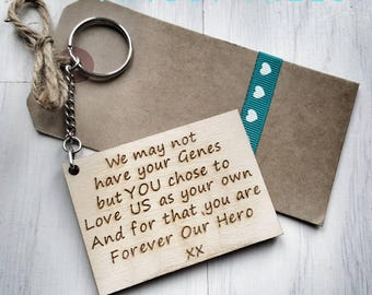 Step Dad we may not have your Genes chose  Love US Forever out Hero keychain Engraved Keyring father Stepdad Fathers Day Gift present dna