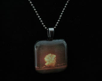 Nuclear Memento Mori: Teapot Apple II Nevada Test Site May 5, 1955 Glass Pendant