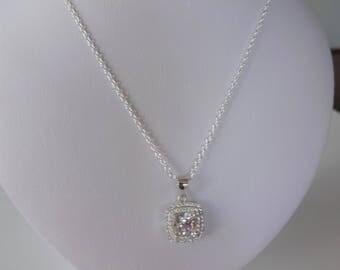 Pendentif princesse Quartz blanc & chaîne argent 925 ***Expédition gratuite Canada***Free shipping to Canada***
