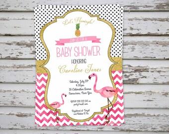 Flamingo Baby Shower Invitation, Flamingo Invitation, Flamingo Baby Shower Invite, Flamingo Pink Glitter Party Invite DIGITAL FILE