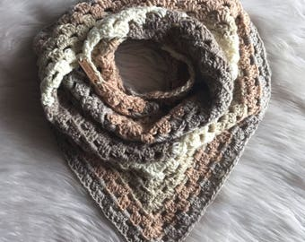 Cozy Crochet Triangle Scarf , Neutral colored crochet scarf, granny scarf, cream knit scarf, Ready to Ship