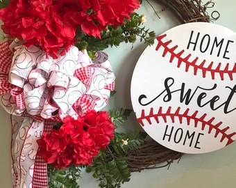 Home Sweet Home Baseball Wreath