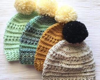 Custom Pom Pom Beanie crochet textured hat with oversize pom pom adult crochet hat