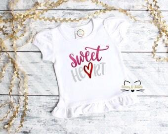 Girls Valentine Shirt, Girls Valentine Outfit, Valentine Sweet Heart, Toddler Baby Valentine, 1st Valentine's Day, First Valentine's Day