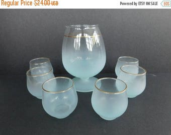 20% OFF SALE - Vintage Blendo Pitcher and Six Glasses, Blue Blendo Pitcher Set, Mid Century Barware