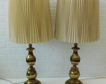 20% OFF SALE - Vintage Pair Of Brass Lamps, Hollywood Regency, Living Room Lamps