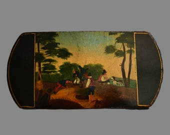Georgian Cigar Case with hand Painted Scene