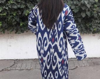 Uzbek ikat robe ,chapan. Handwoven Ikat  Adras Cotton chapan from Uzbekistan