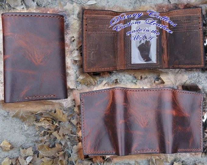 Bison leather Tri fold wallet, Leather Tri Fold, Mens Wallet