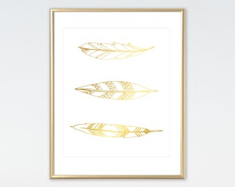 Feathers Print, Real Foil Print, Feather Print, Tribal Print,
