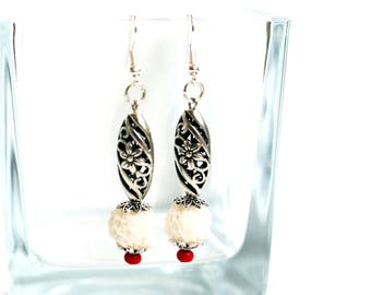 White Christmas earrings White beads earrings White and Red jewelry Dangle drop earrings Polymer Clay earrings Holiday gift for women