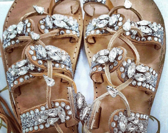 Greek sandals  gladiators  crystals  rhinestones ,sparkly, ''PRINCESS'',tie up gladiator sandals,leather sandals,women's sandals,wholesale