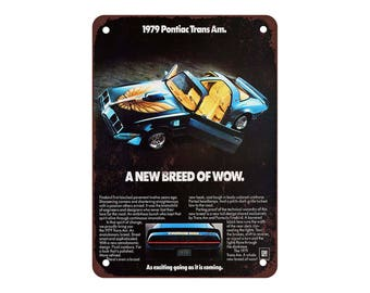 "1979 Pontiac Trans Am - Vintage Look Reproduction 9"" X 12"" Metal Sign"