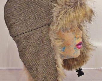 Fur faux Fox Fur and wool fabric