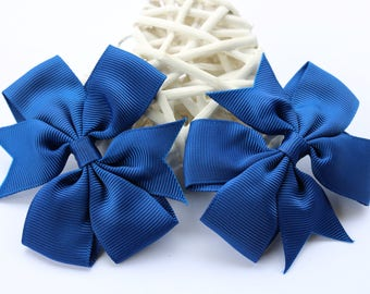 2 x Navy Blue Pinwheel Hair Bow attached to alligator clip. 3 Inches. Grosgrain Ribbon. School Colours. Hair Accessories.