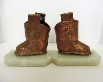 Vintage Copper Plated Baby Boots Bookends Bronzed Childrens Cowboy Boots On Onyx Bookend Pair Of Booties