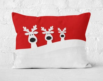 Christmas Reindeer Pillow | Christmas Reindeer Lumbar Pillow | Christmas Reindeer Throw Pillow | Christmas Reindeer Cushion