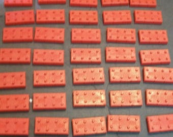50 Halsam American Bricks Vintage 1950-60s Red Plastic Building Blocks Similar To Lego