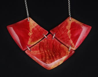 Stabilized and Dyed  Flame Box Elder Wood Necklace