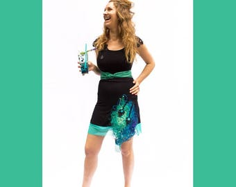 JUPE BRODÉE-jupe noire-jupe en A-jupe en bambou-jersey-jupe confortable-broderie-bleu-turquoise-vert jade-voile-pailette-