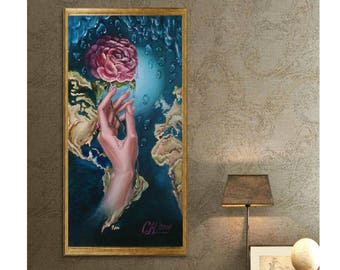 Wedding Gift|for|women gift|for|her Fantasy art wall art painting Rainy day Original oil painting Flower Fantasy painting World map Fine art