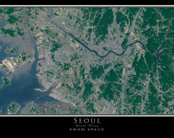 Seoul South Korea Satellite Poster Map