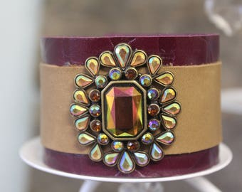 Multi-color leather cuff with Bling