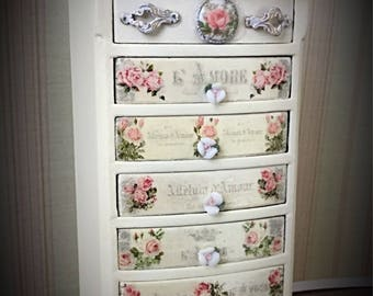 Dollhouse Miniature Tall Lingerie Chest, 7 Drawer Chest, 1:12, Accent Chest, Porcelain Rose Drawer Pulls, OOAK
