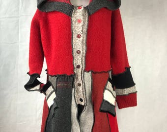 Red Black and Gray Upcycled, Recycled, Repurposed Wool and Wool Blend Sweater Coat with extra long hood