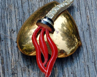 Unusual Silver Brothers (Silbros) Vintage Heart with Torch Brooch