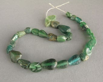 Authentic ancient Roman bead strand, Green glass beads, Excavated beads, Age VI-VII century AD